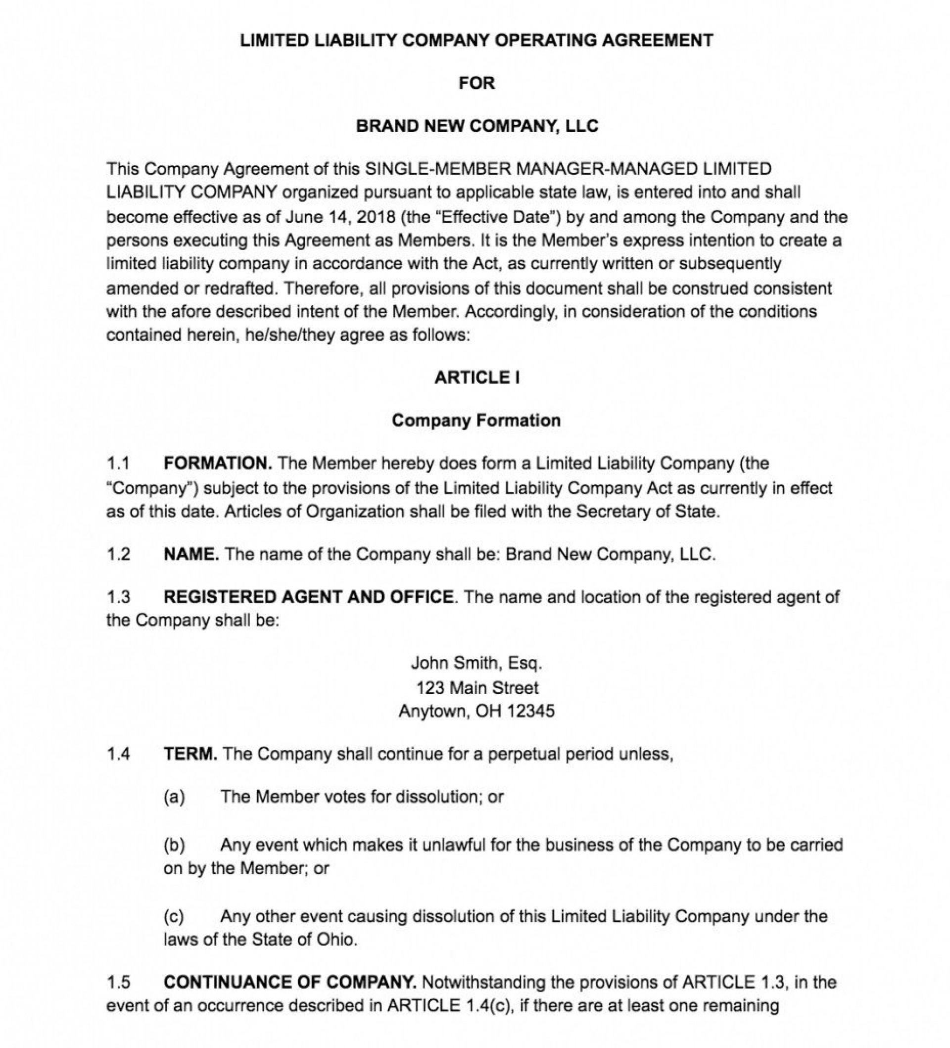 000 Fantastic Free Operating Agreement Template Design  Pdf Missouri Llc1920