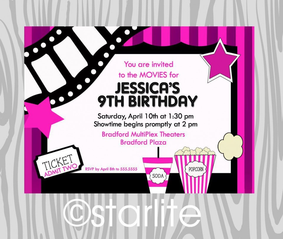 000 Fantastic Free Printable Movie Ticket Birthday Party Invitation Inspiration 960