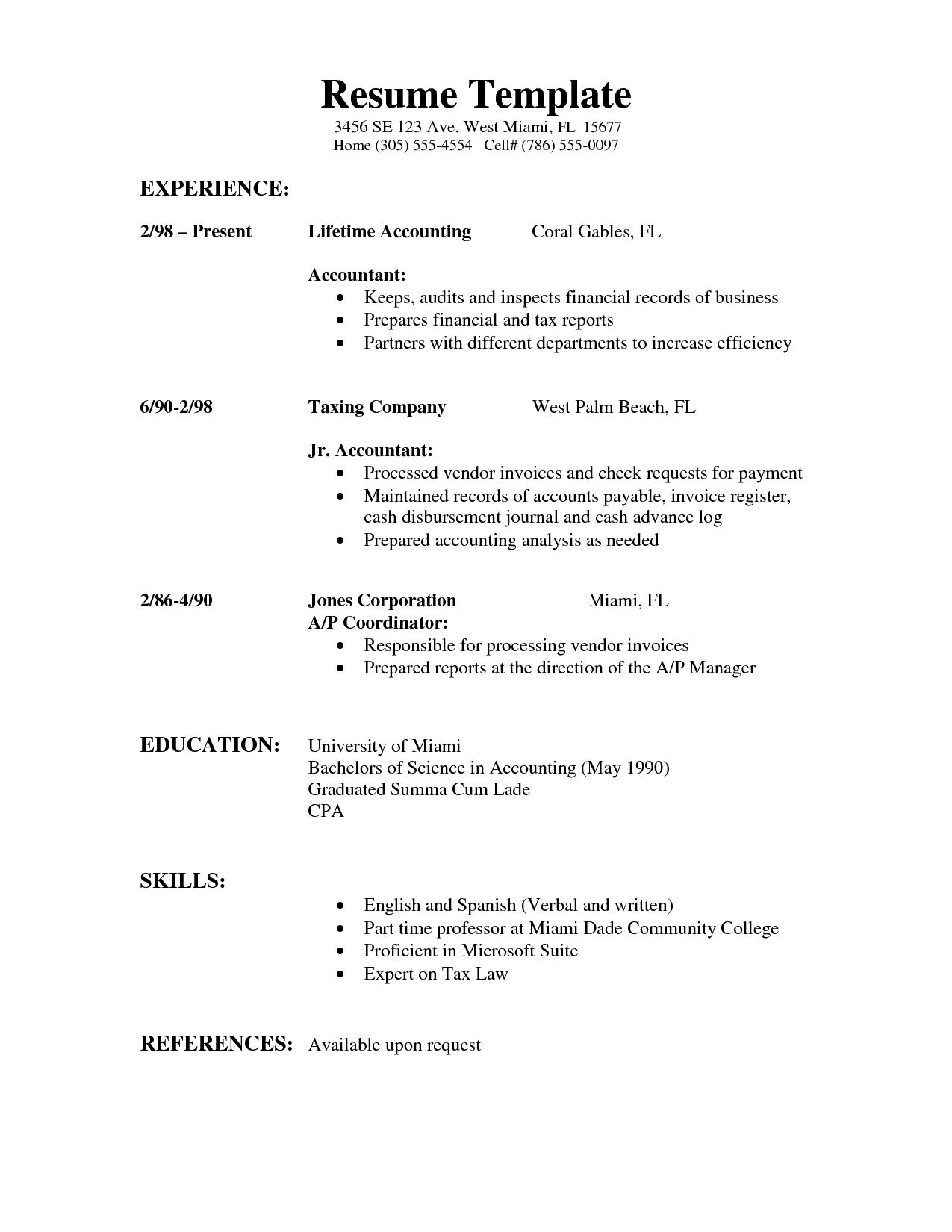 000 Fantastic Simple Job Resume Template Concept  Templates Example DownloadFull