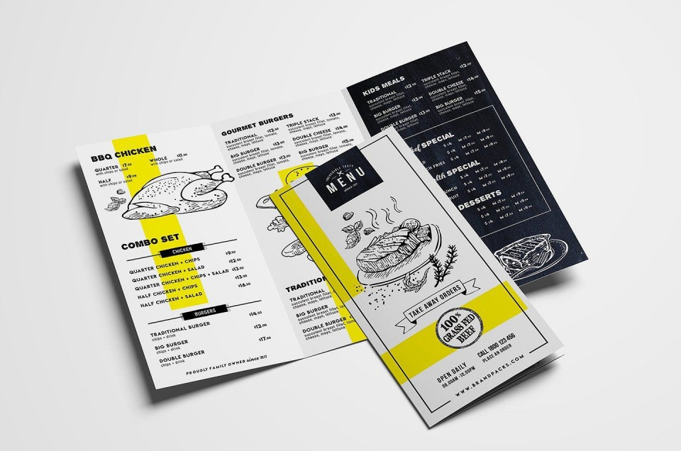 000 Fantastic Tri Fold Menu Template Free Highest Quality  Wedding Tri-fold Restaurant Food Psd Brochure Cafe Download960