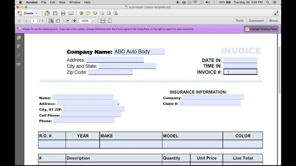 000 Fascinating Auto Repair Invoice Template Excel Concept Large