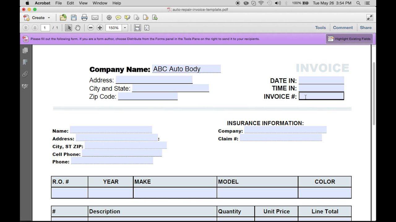 000 Fascinating Auto Repair Invoice Template Excel Concept Full