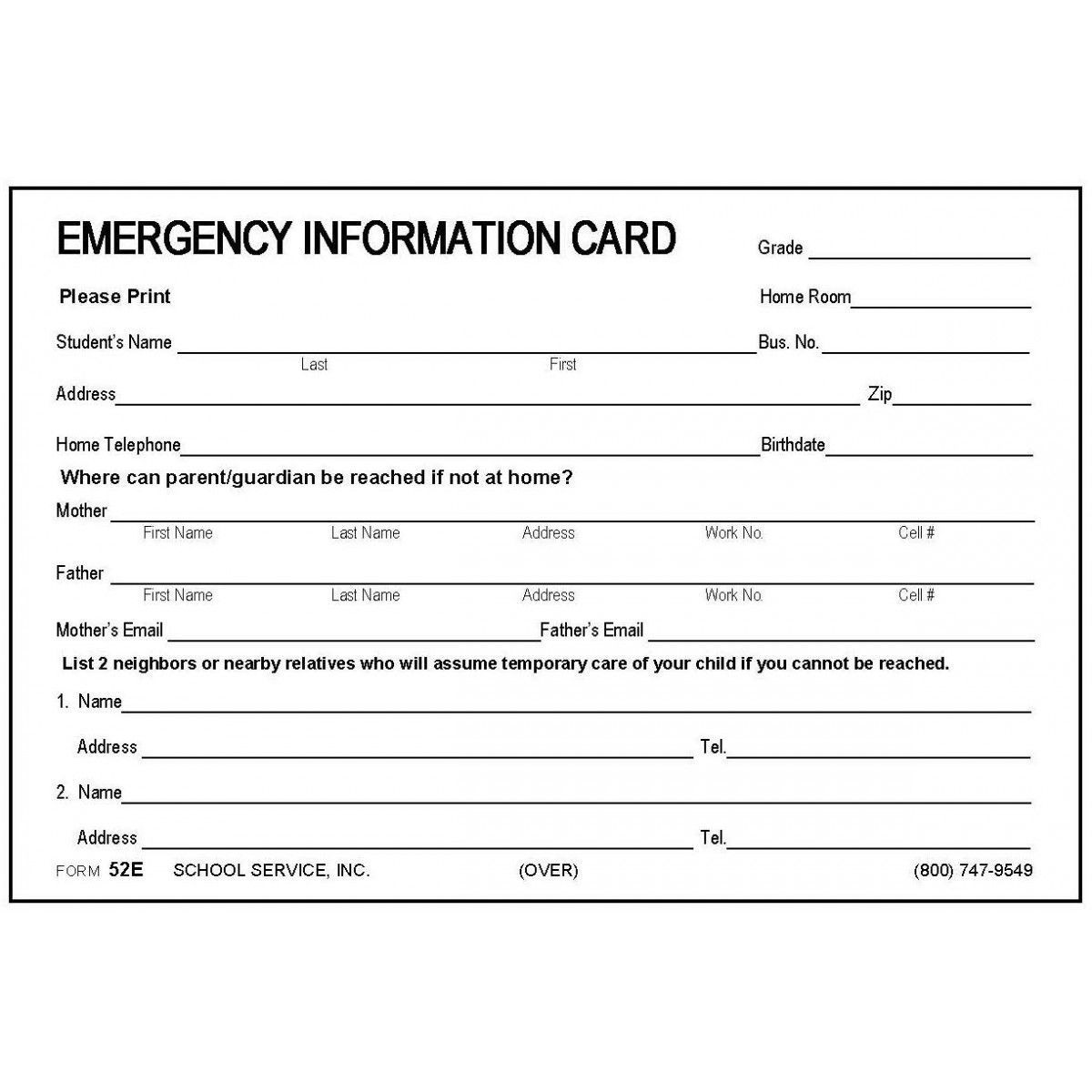 000 Fascinating Emergency Information Card Template High Def  Contact Free For ChildFull