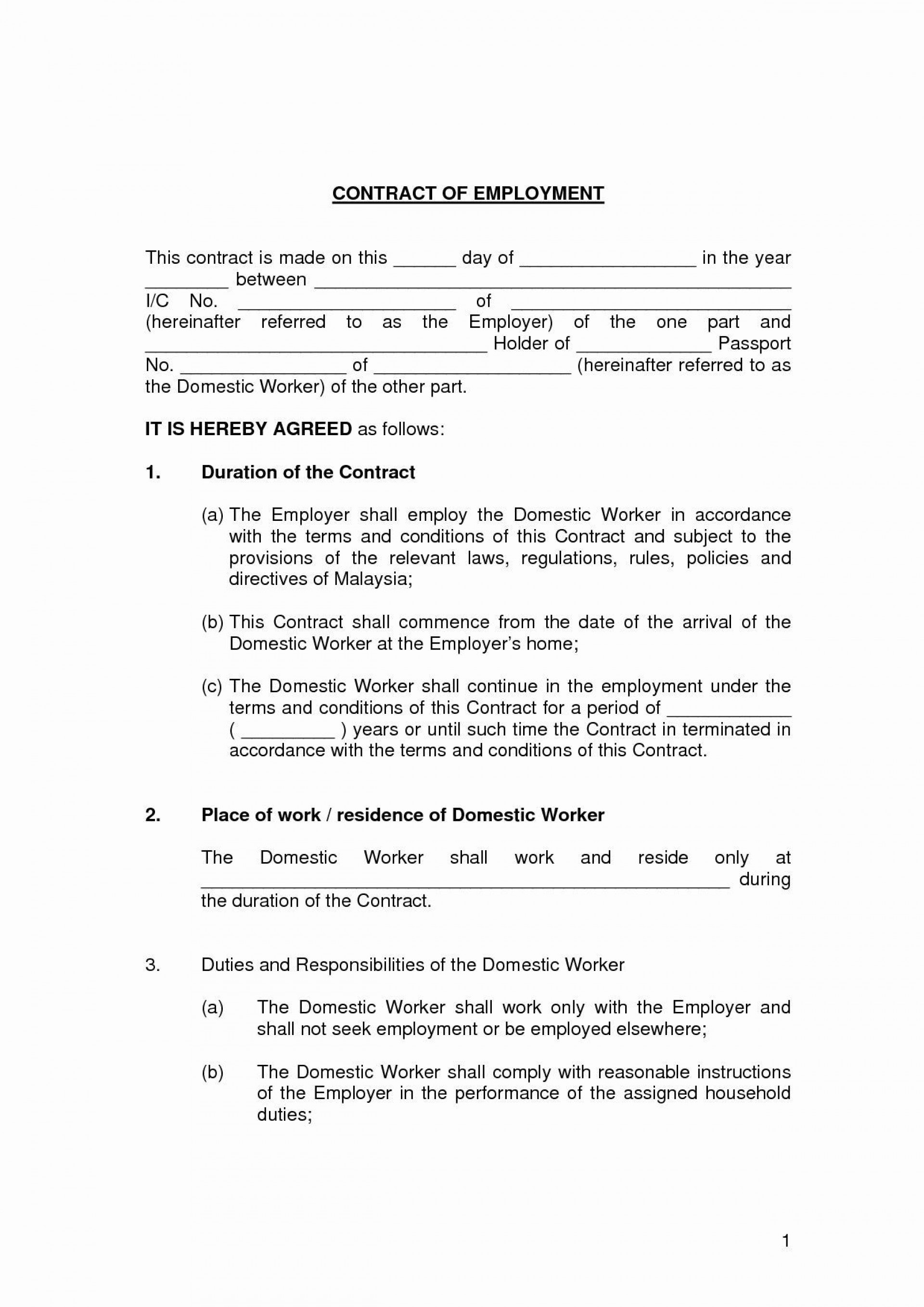 000 Fascinating Free Employment Contract Template Picture  Templates Bc Temporary South Africa Ireland1920