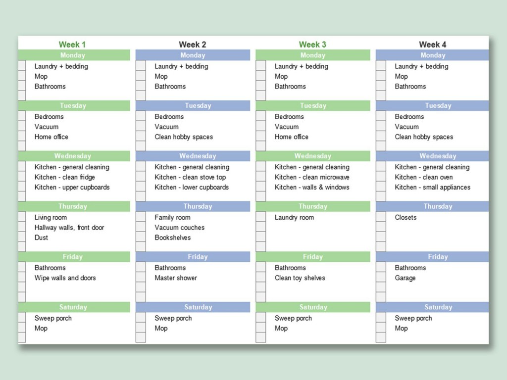 000 Fascinating House Cleaning Schedule Template Excel Picture Large