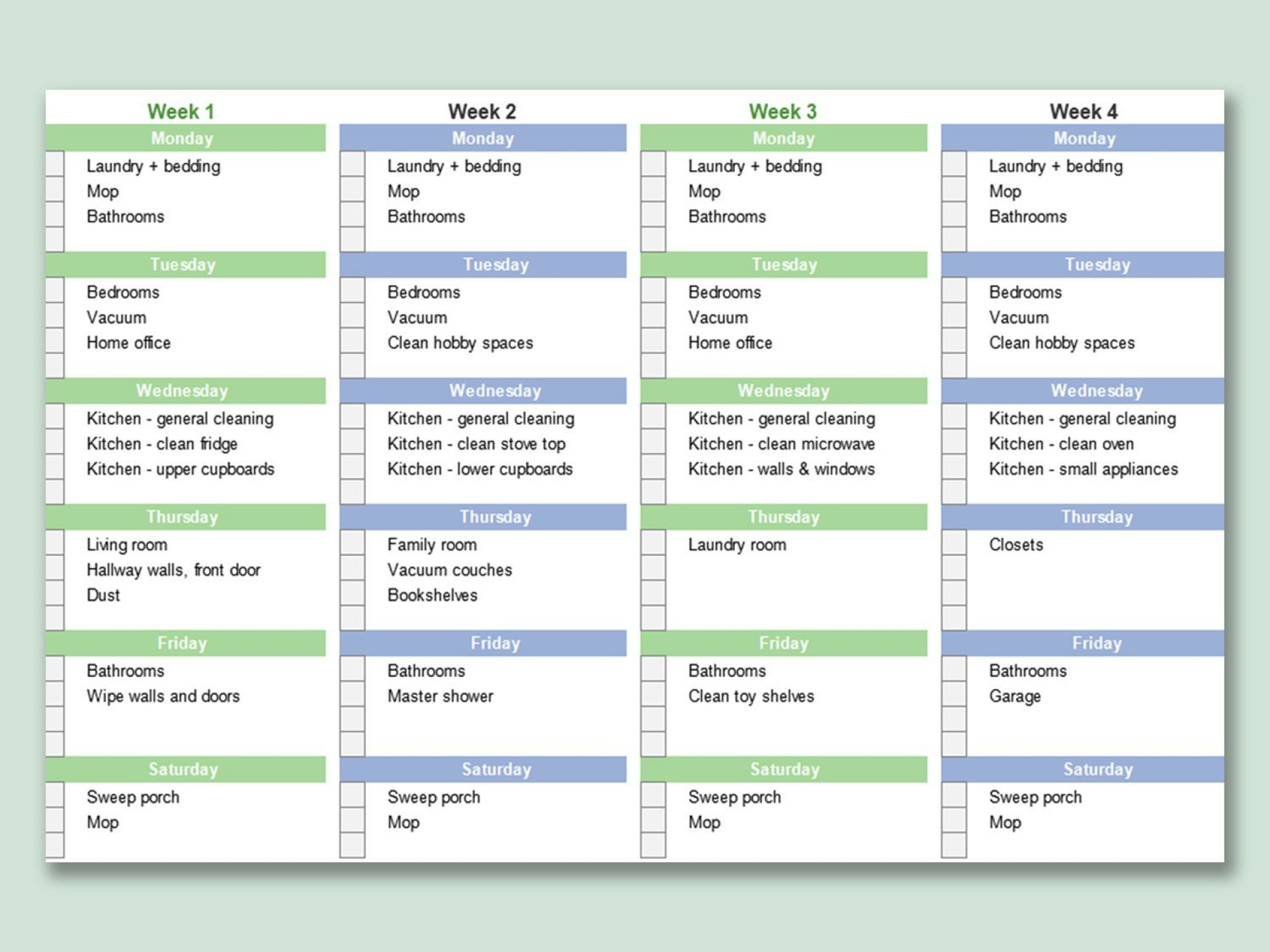 000 Fascinating House Cleaning Schedule Template Excel Picture 1920