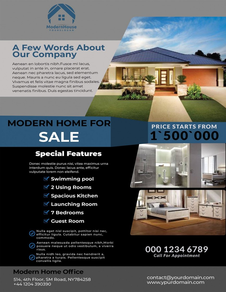 000 Fascinating House For Sale Flyer Template Photo  Free Real Estate Example By Owner868