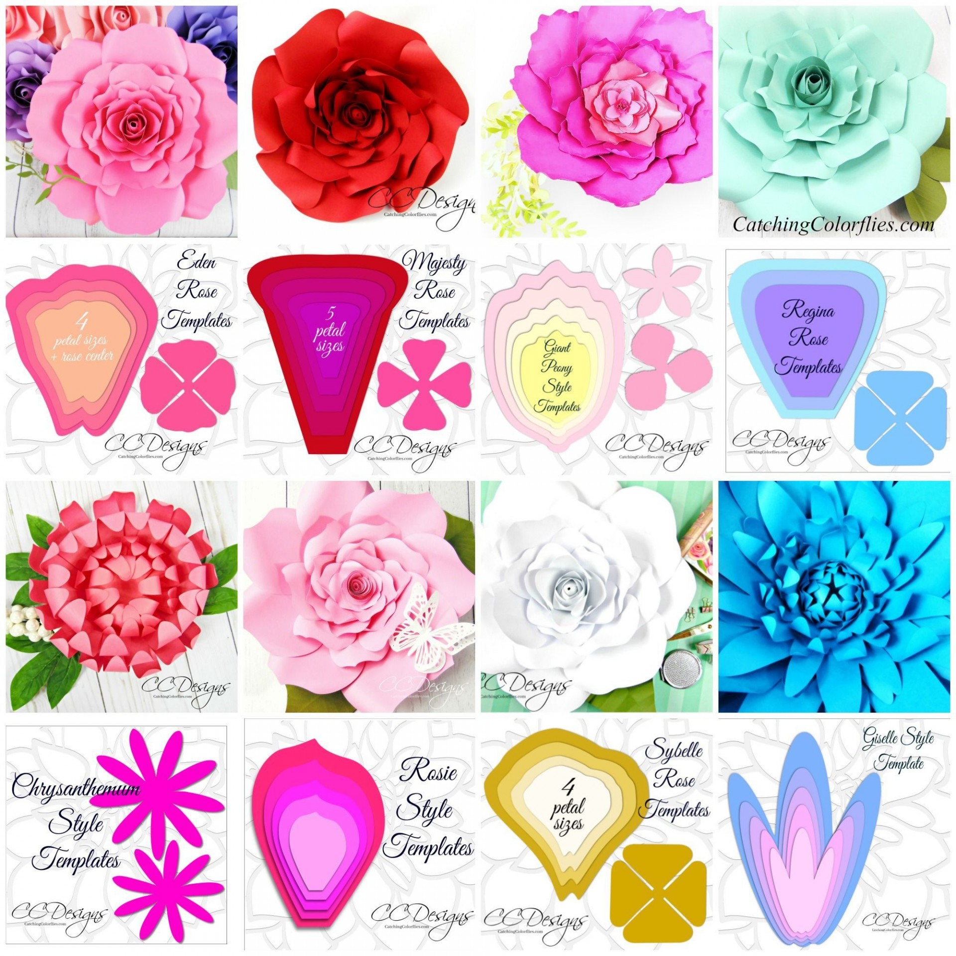 000 Fascinating Large Rose Paper Flower Template Free Photo 1920