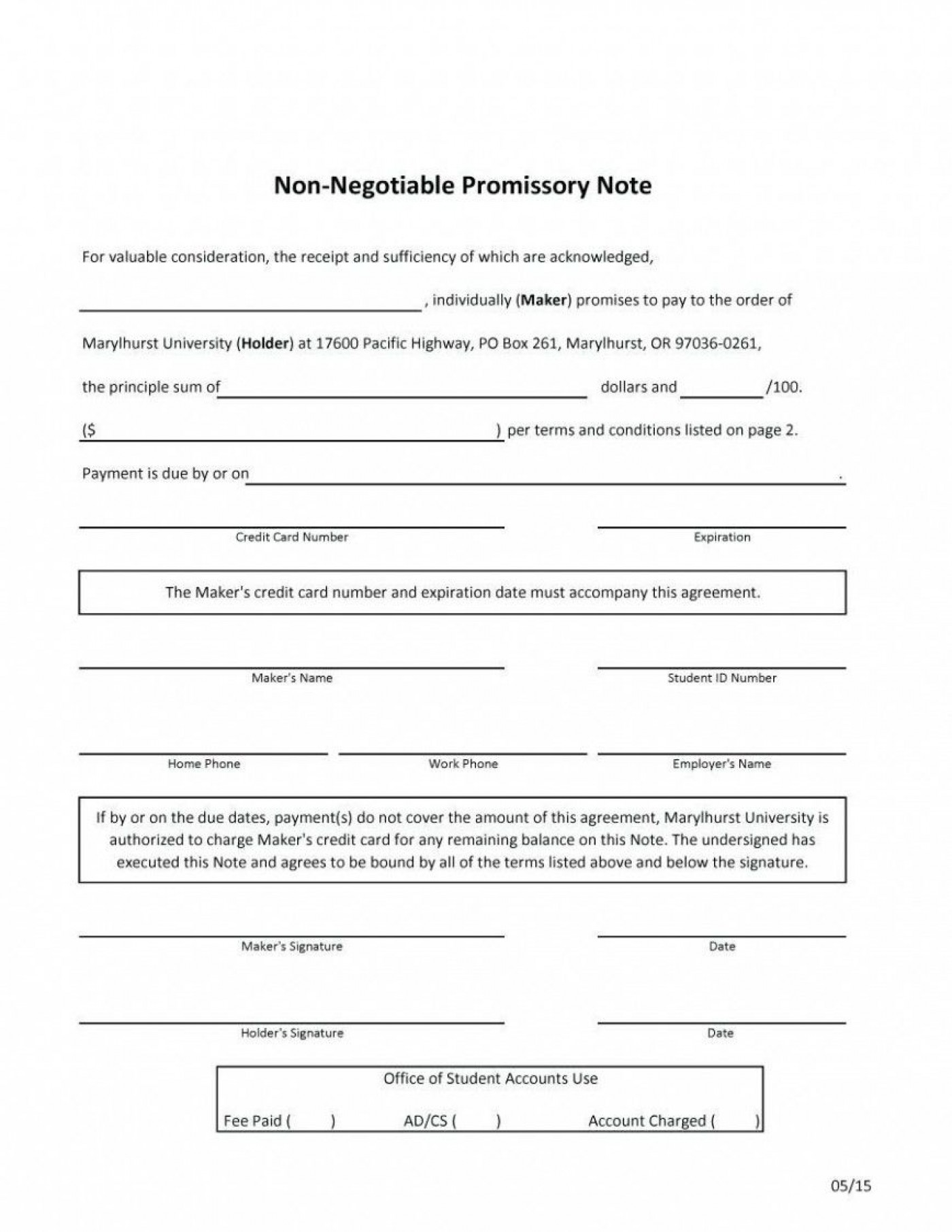 000 Fascinating Promissory Note Template Word Highest Quality  Form Document Free Sample1400