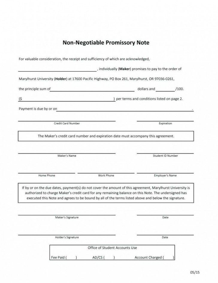 000 Fascinating Promissory Note Template Word Highest Quality  Form Document Free Sample728
