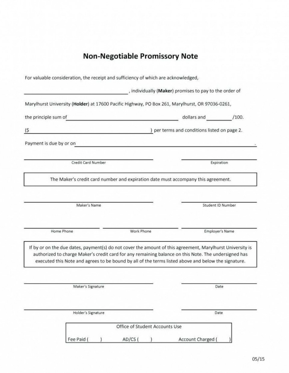 000 Fascinating Promissory Note Template Word Highest Quality  Form Document Free Sample960
