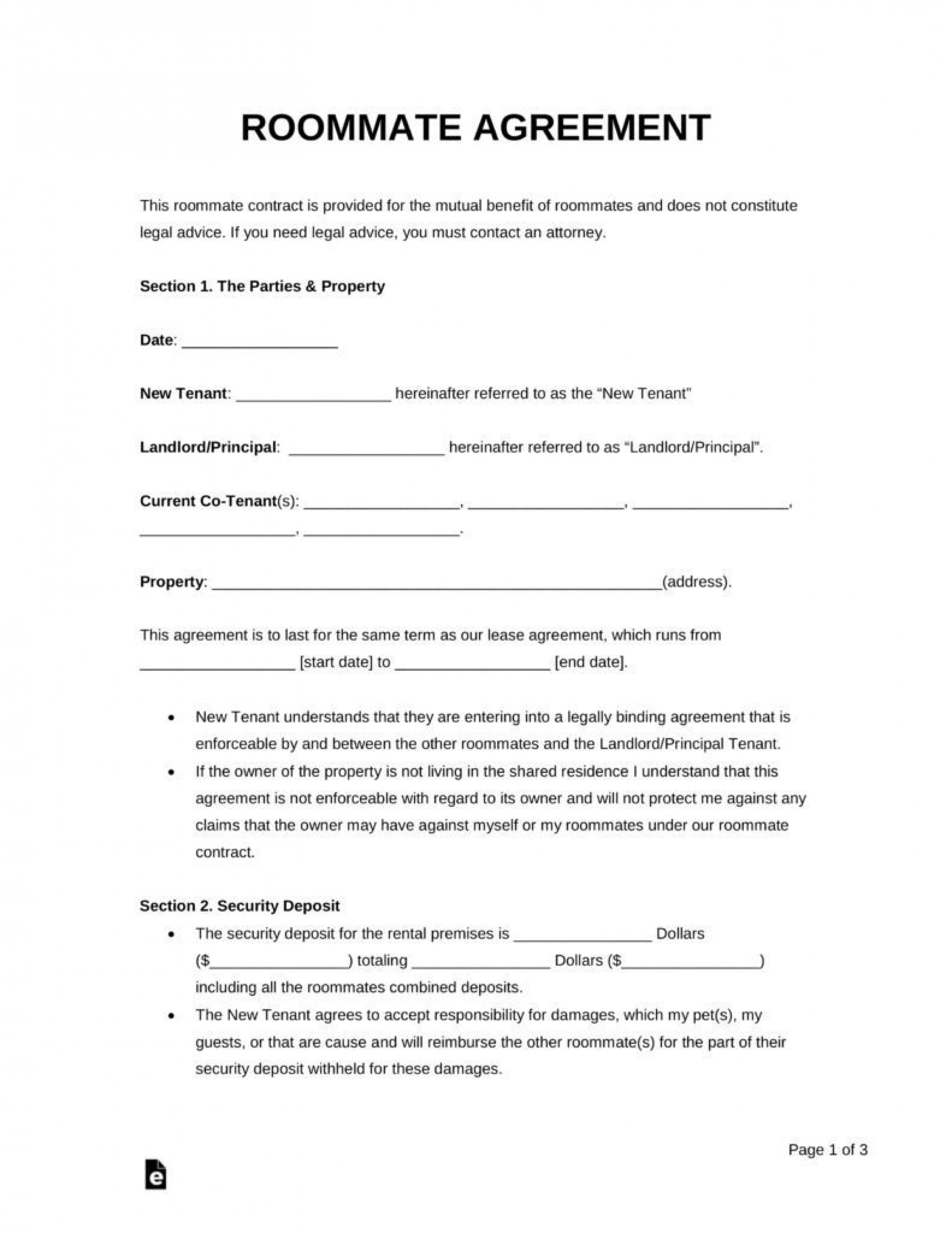 000 Fascinating Roommate Rental Agreement Template High Definition  Form Free Contract1920