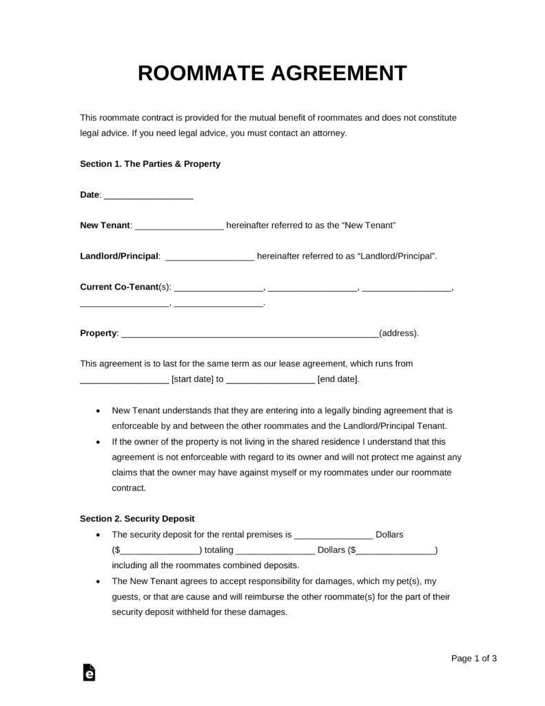 000 Fascinating Roommate Rental Agreement Template High Definition  Form Free ContractFull