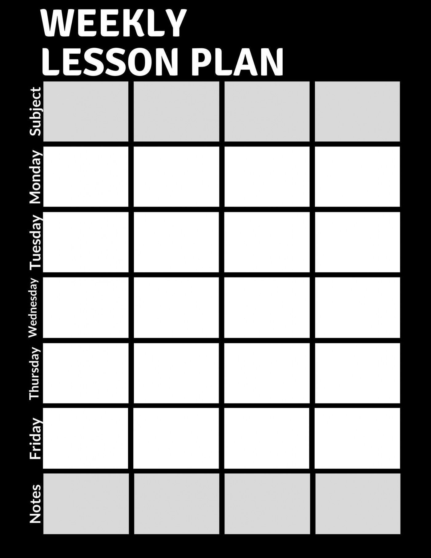 000 Fascinating Weekly Lesson Plan Template Pdf High Definition  Blank1400