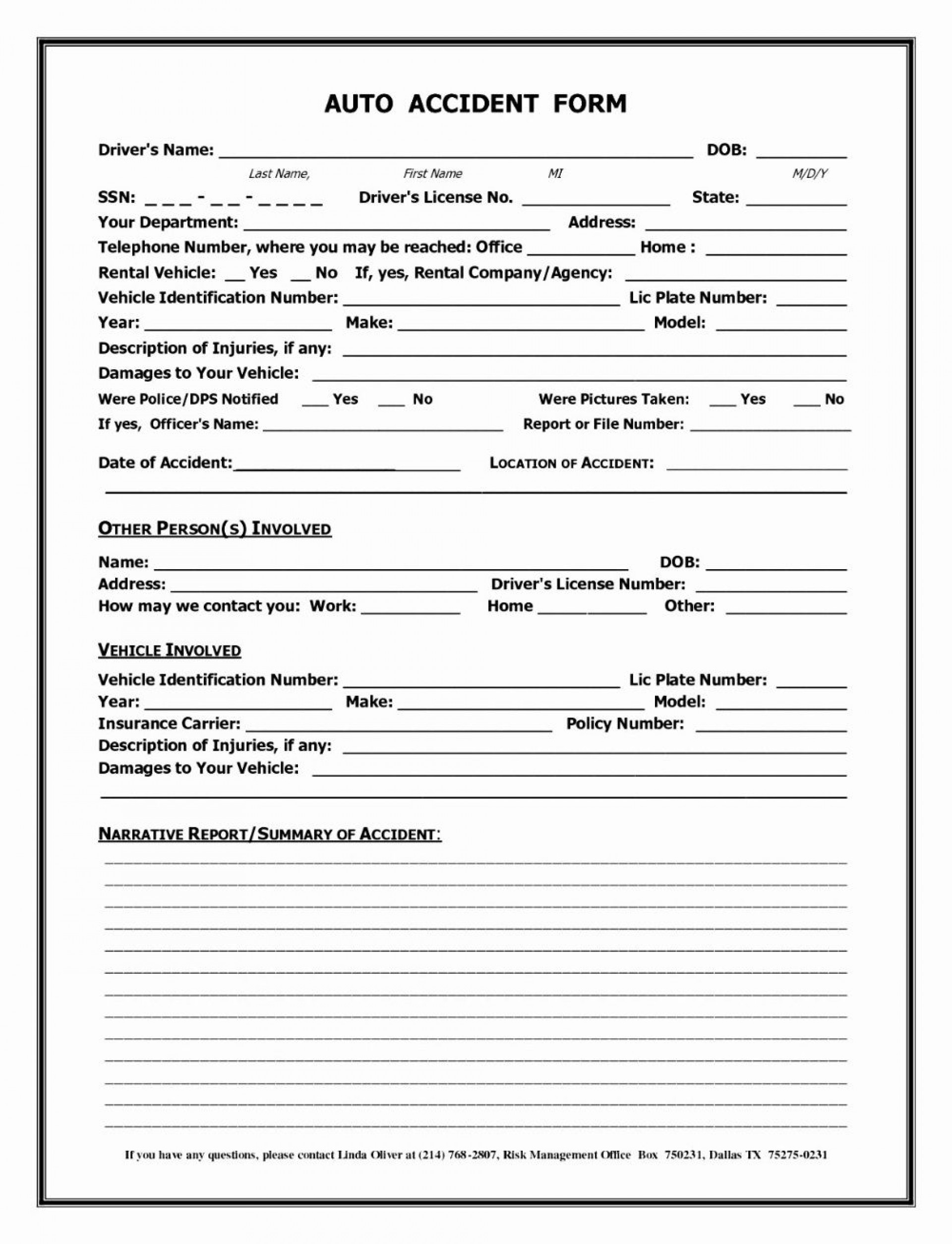 000 Fearsome Accident Report Form Template Concept  Free South Africa Pdf1920