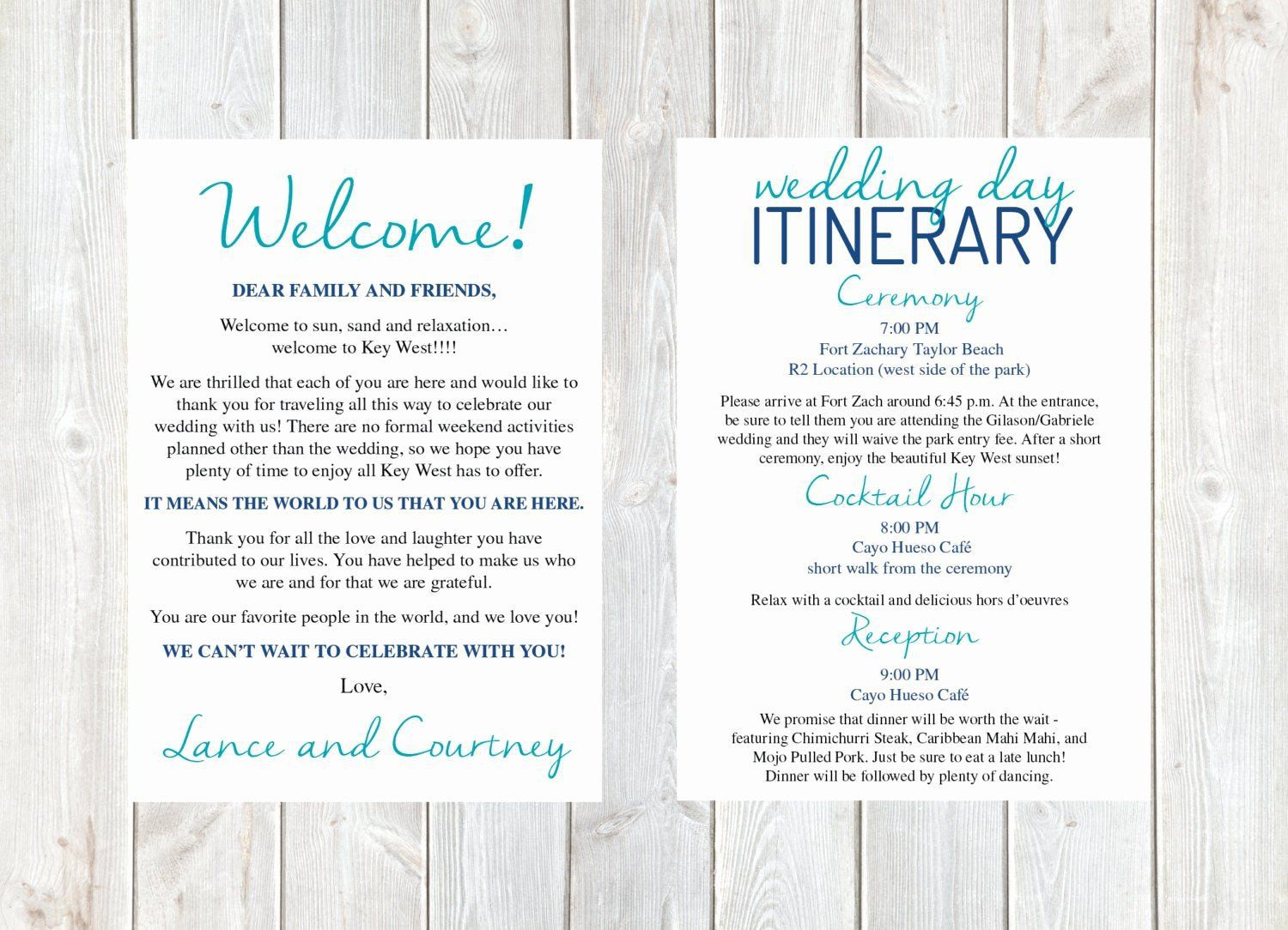 000 Fearsome Destination Wedding Welcome Letter Template Photo  And ItineraryFull