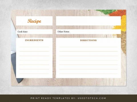 000 Fearsome Free 4x6 Recipe Card Template For Microsoft Word Concept  Editable480