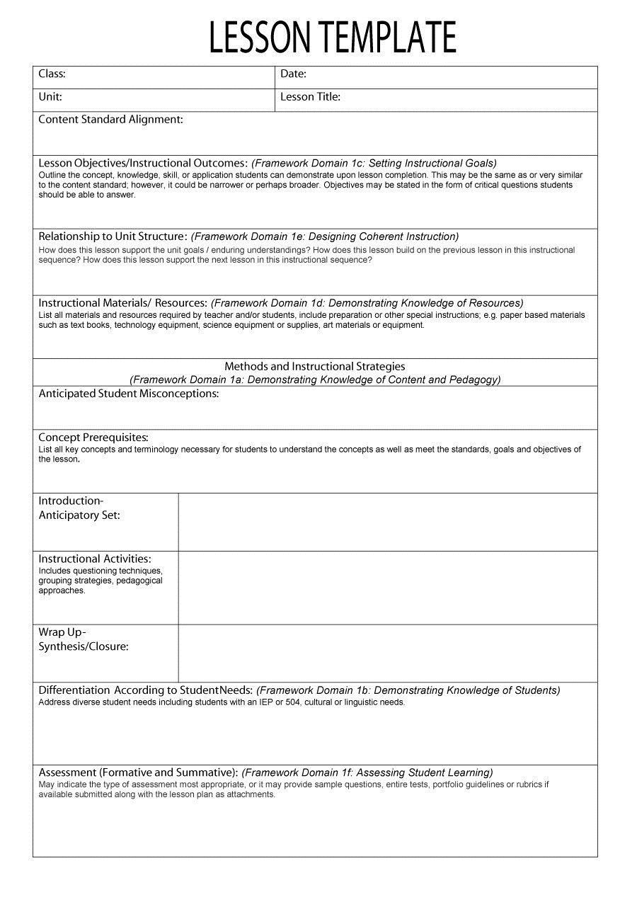 000 Fearsome Free Blank Lesson Plan Template Pdf Idea  Weekly EditableFull