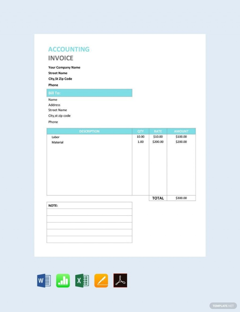 000 Fearsome Free Service Invoice Template Concept  Microsoft Word Printable FormLarge