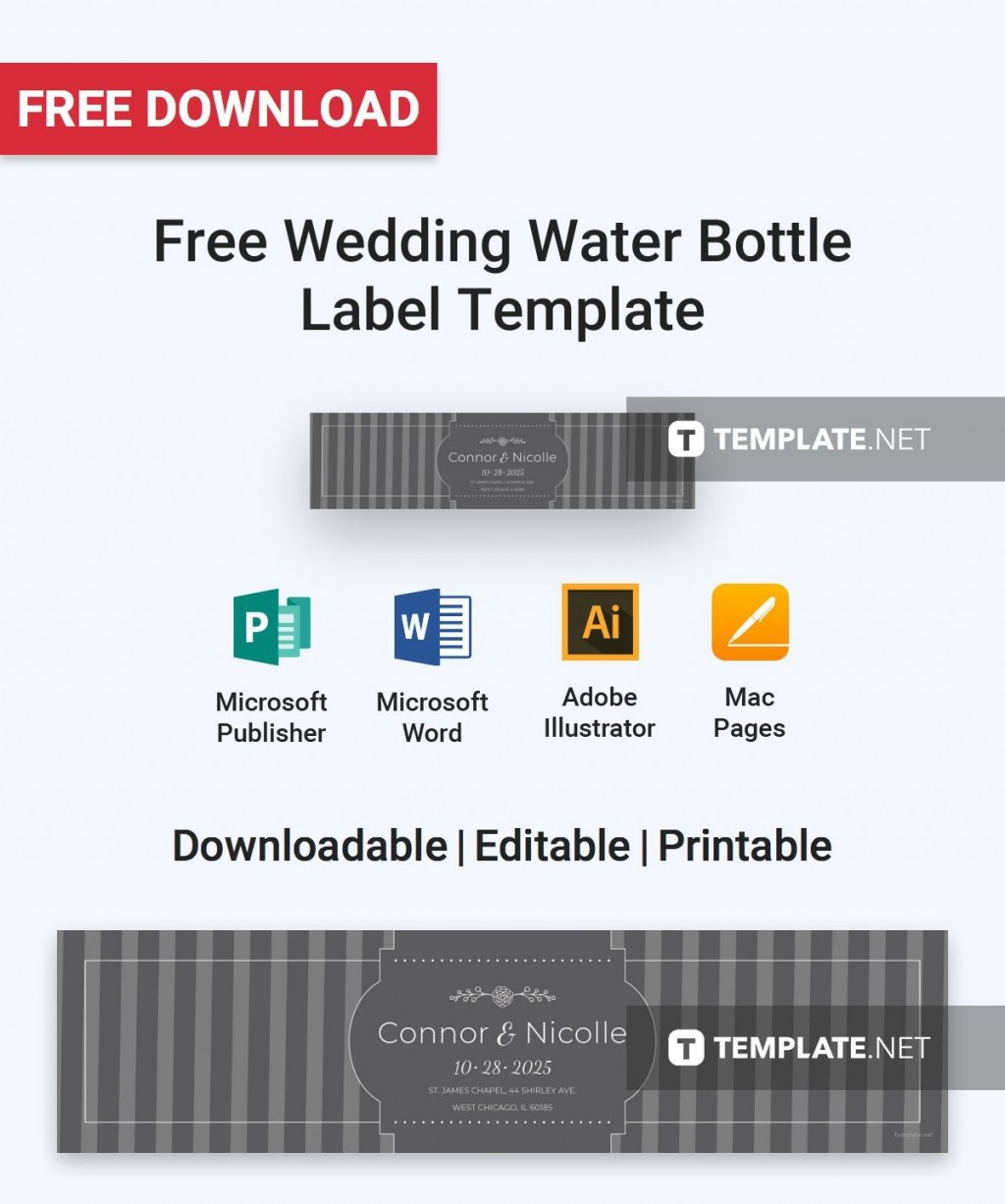 000 Fearsome Free Wedding Template For Word Water Bottle Label High Def  LabelsLarge