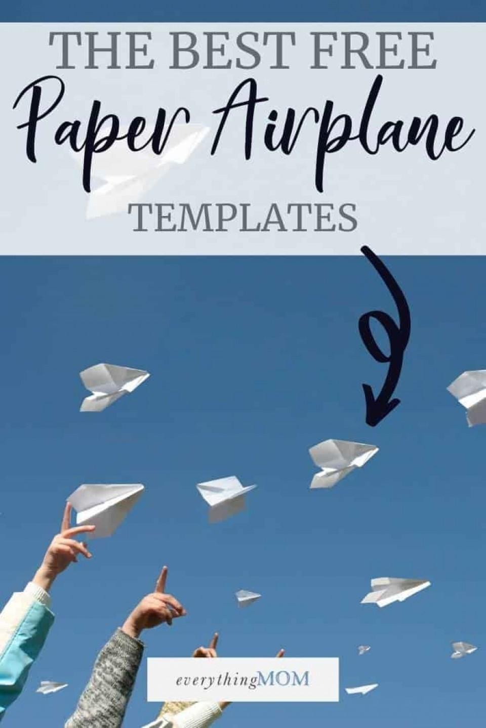000 Fearsome Printable Paper Plane Plan Image  Free Airplane Template Pdf960