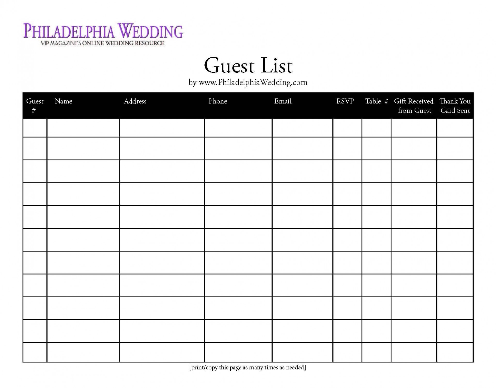 Printable Wedding Guest List Template Addictionary