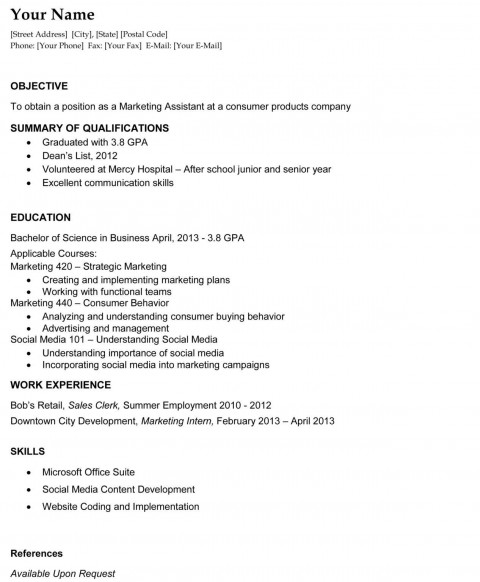000 Fearsome Recent College Graduate Resume Template High Def  Word480