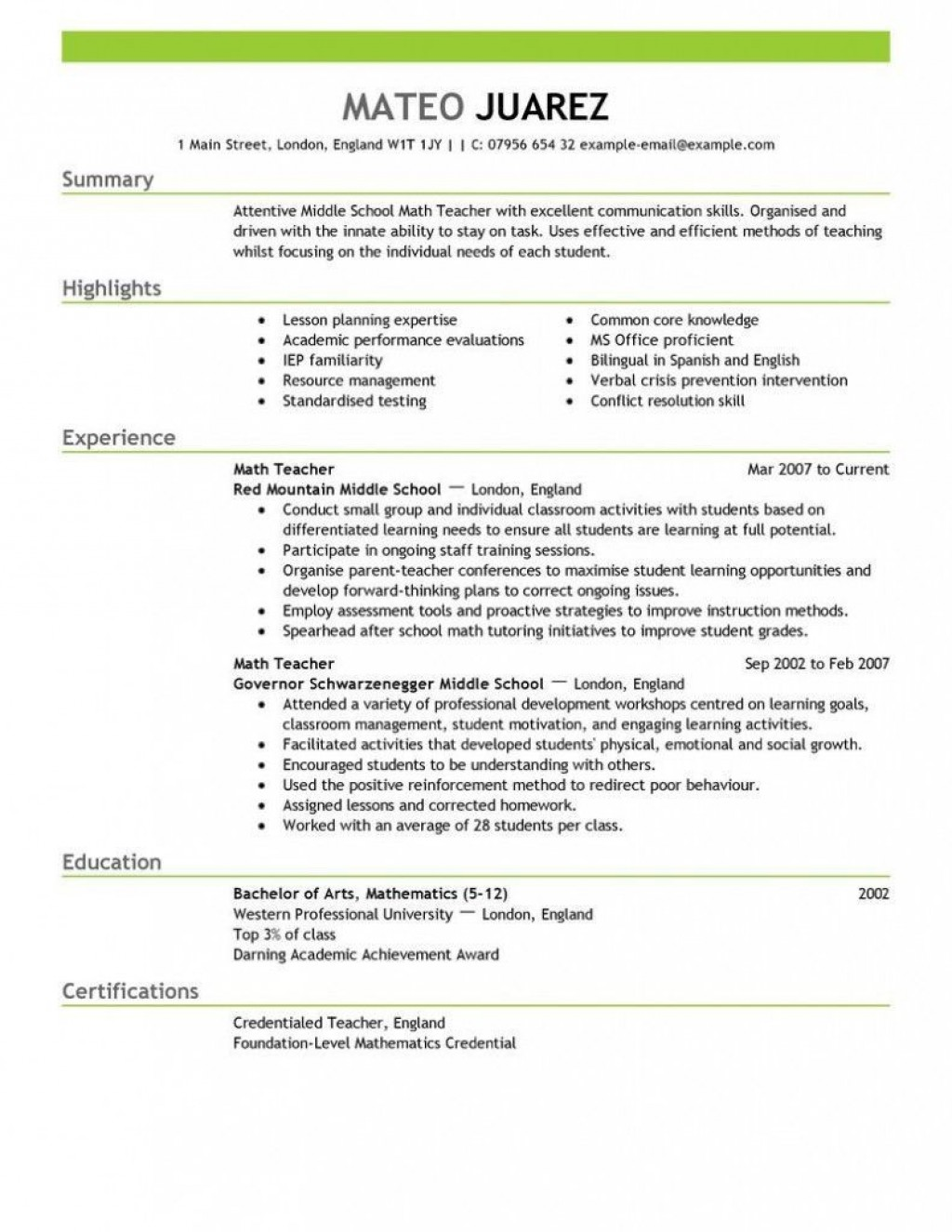 000 Fearsome Resume Sample For Teaching Position Picture  Teacher Aide In CollegeLarge