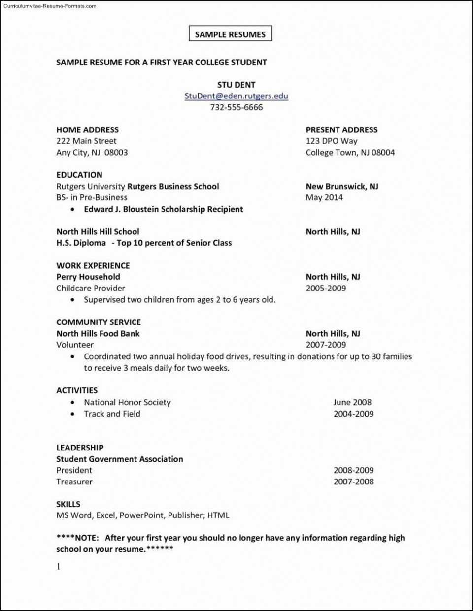 000 Fearsome Resume Template For First Job High Resolution  After College Sample Student Teenager960