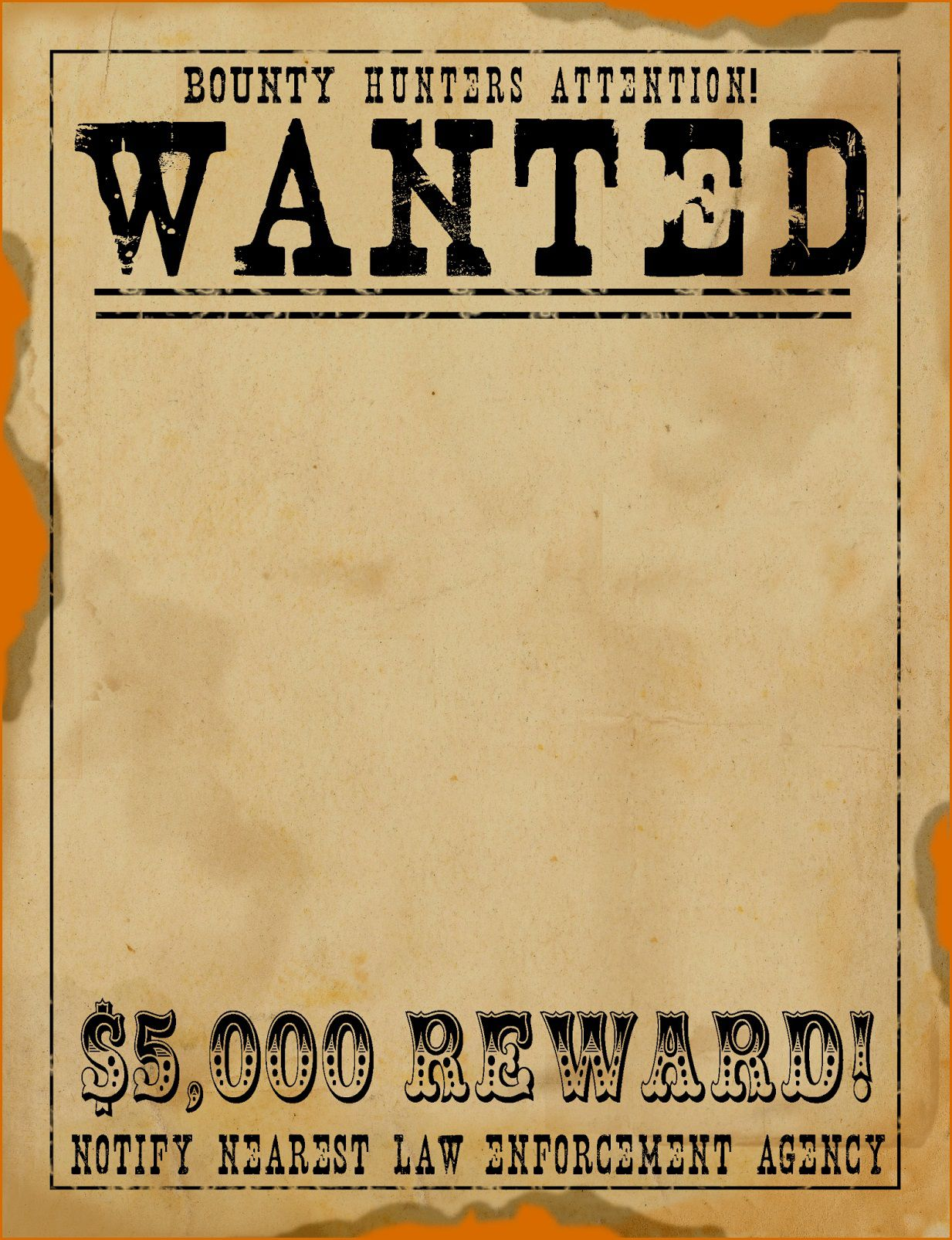 000 Fearsome Wanted Poster Template Free Printable Concept  MostFull