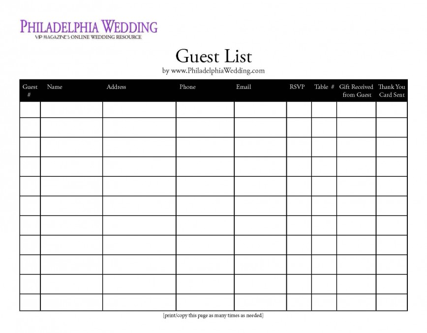 000 Fearsome Wedding Guest List Excel Spreadsheet Template High Definition 868