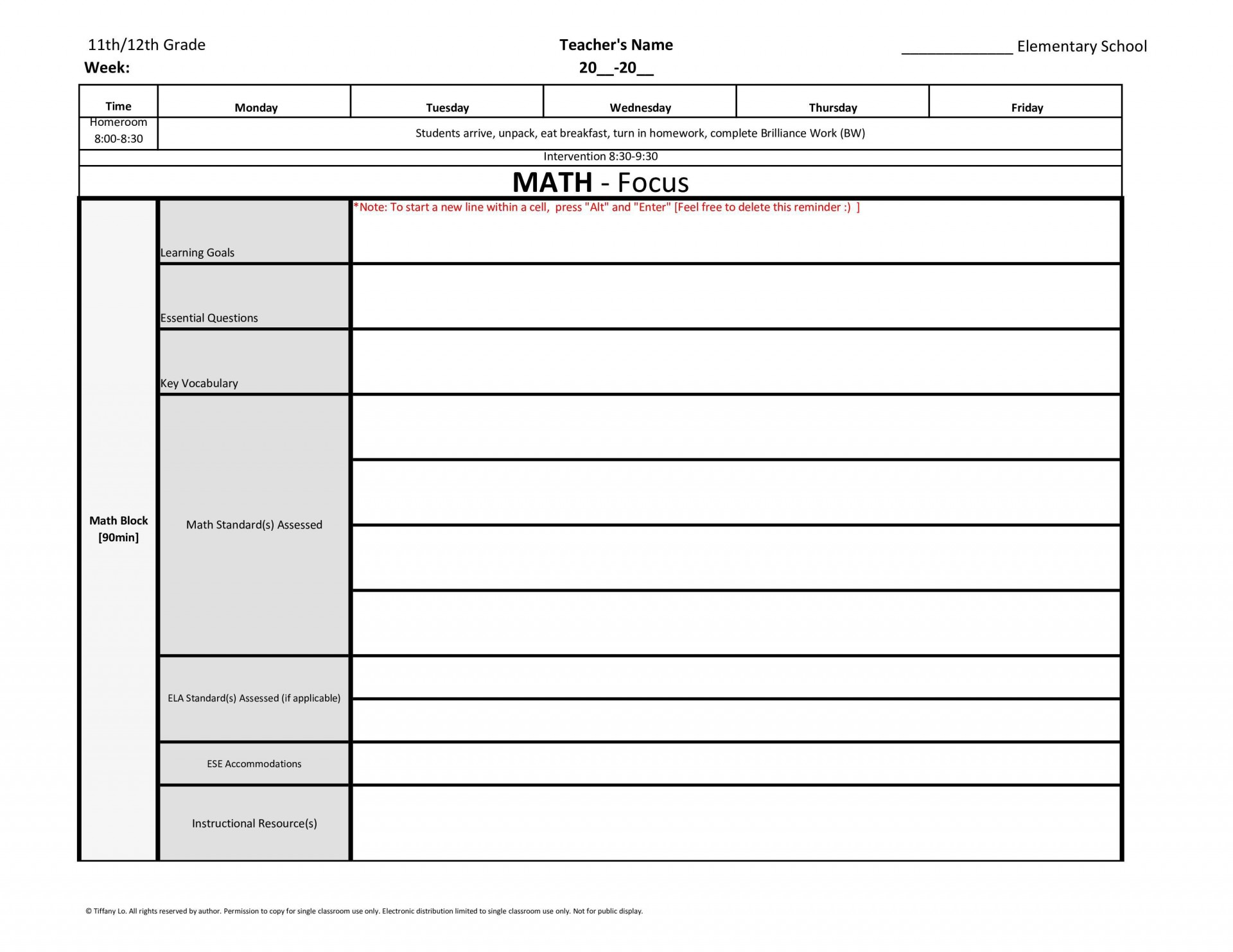 000 Formidable Blank Weekly Lesson Plan Template Inspiration  Printable Pdf Free Editable1920