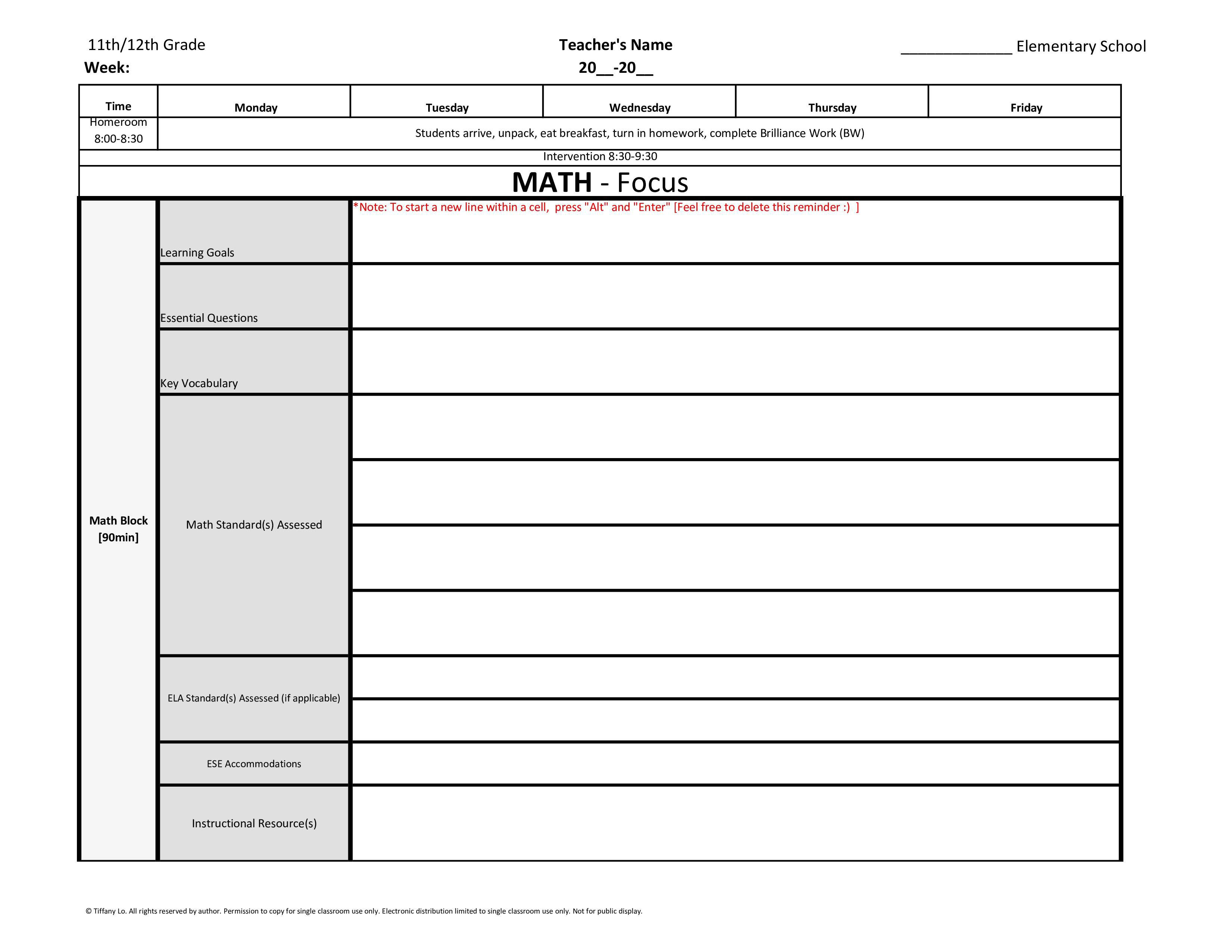 000 Formidable Blank Weekly Lesson Plan Template Inspiration  Printable Pdf Free EditableFull