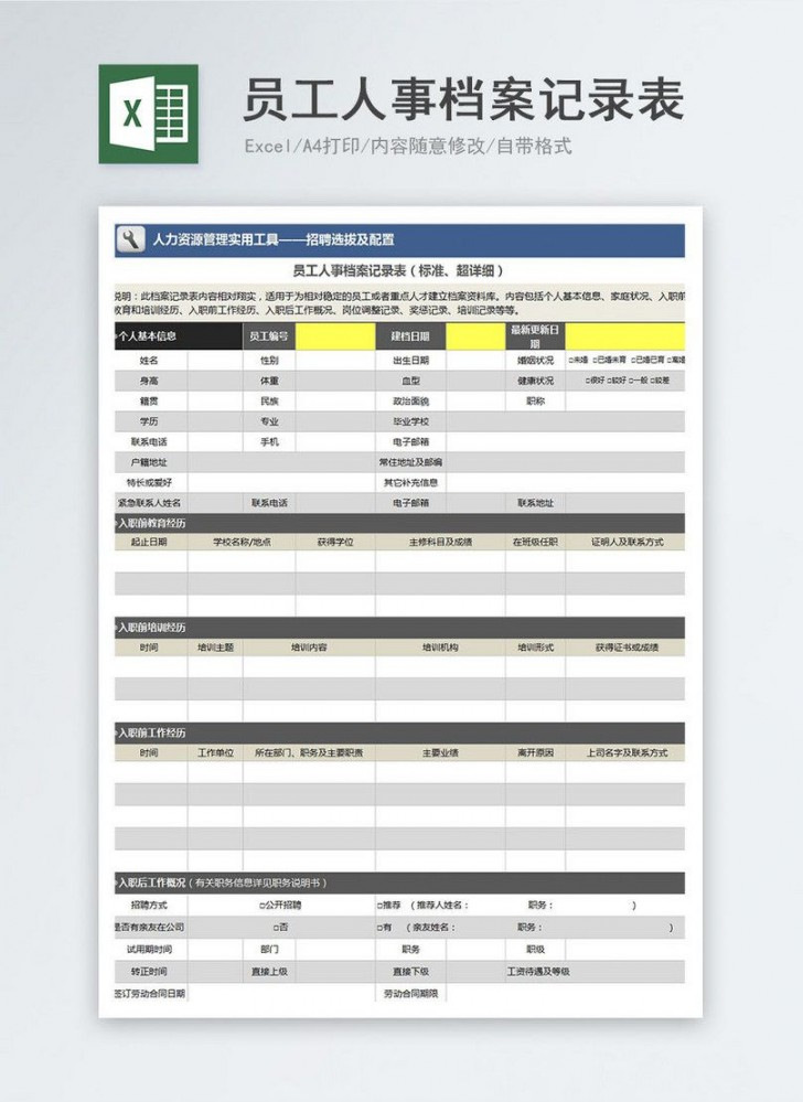 000 Formidable Employee Personnel File Template Idea  Uk Excel Form728
