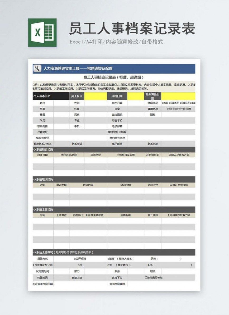 000 Formidable Employee Personnel File Template Idea  Uk Excel Form868