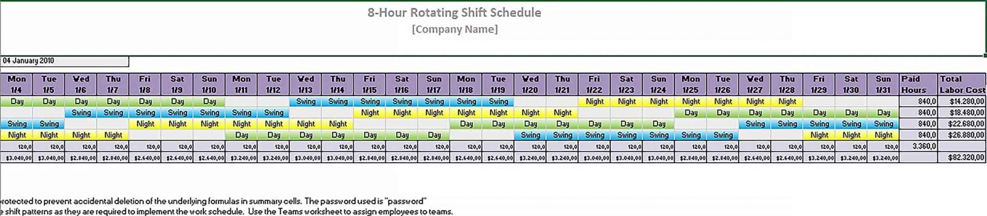 Rotating Work Schedule Template Addictionary