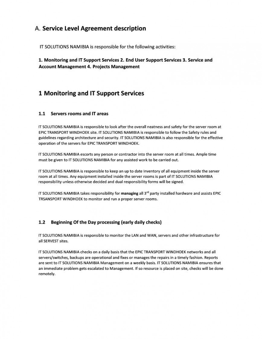 000 Formidable Service Level Agreement Template Highest Quality  Example South Africa Help Desk Pdf Internal Uk