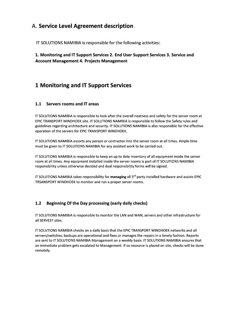 000 Formidable Service Level Agreement Template Highest Quality  South Africa Nz For Website DevelopmentFull