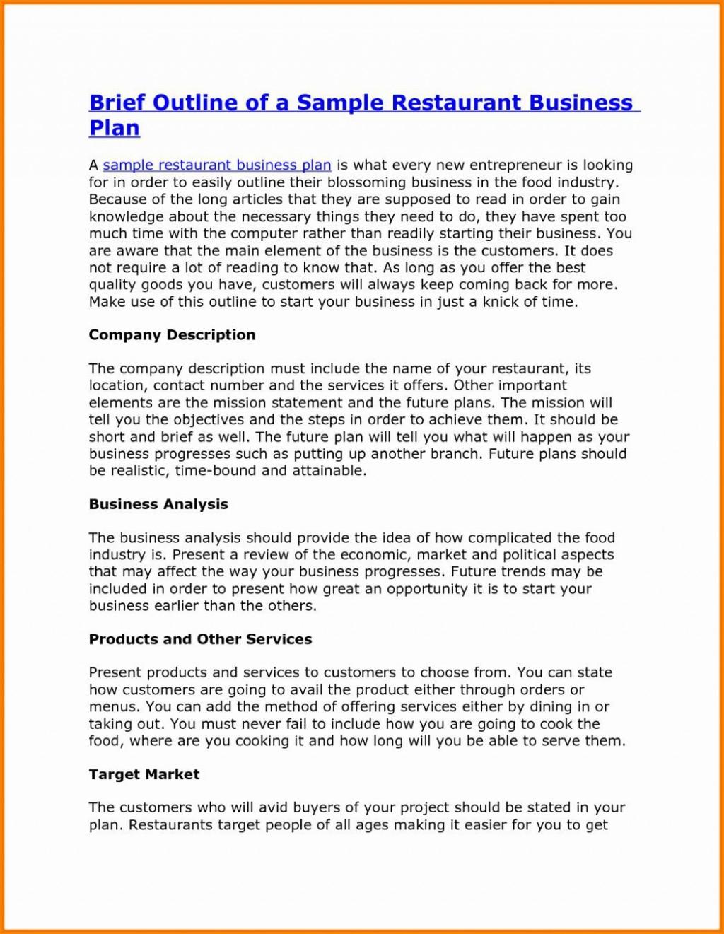 000 Formidable Startup Restaurant Busines Plan Sample Pdf Example Large