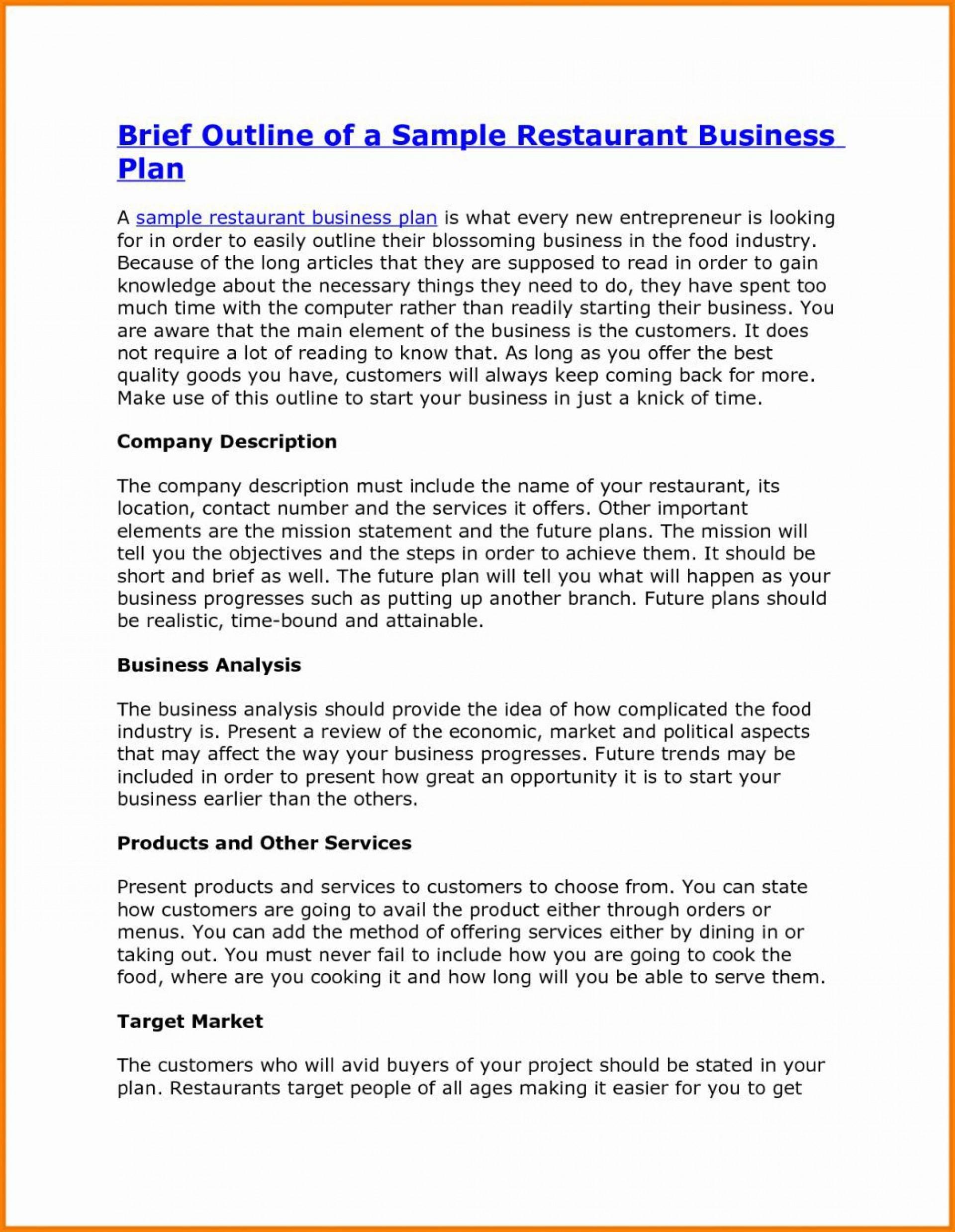 000 Formidable Startup Restaurant Busines Plan Sample Pdf Example 1920