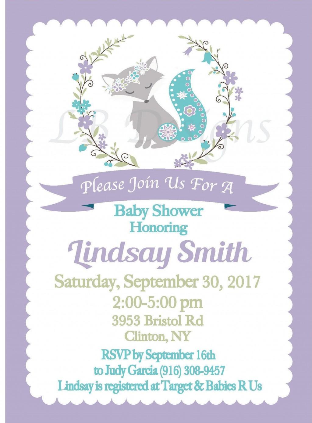000 Frightening Baby Shower Invitation Girl Purple Concept Large