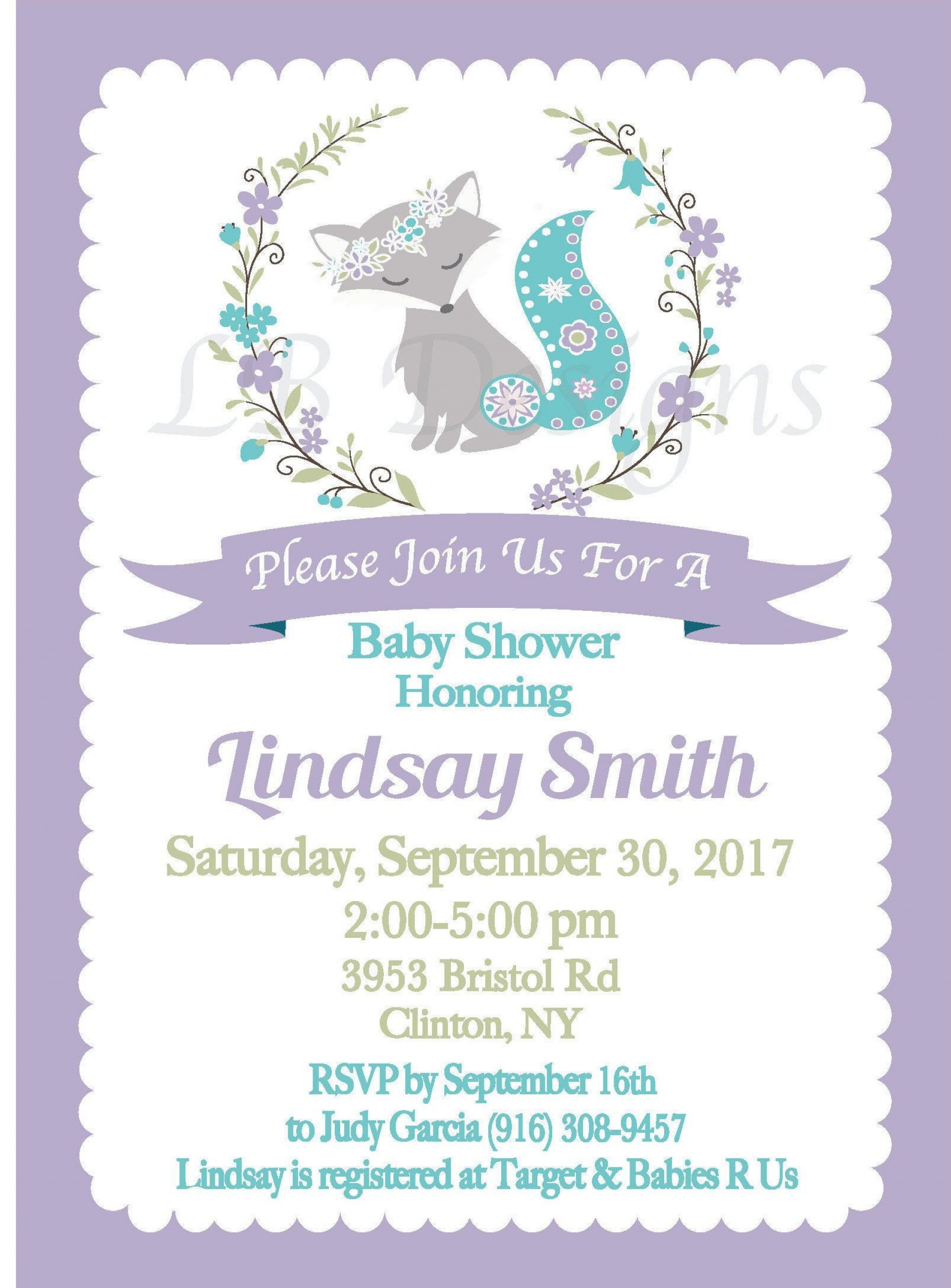 000 Frightening Baby Shower Invitation Girl Purple Concept 1920