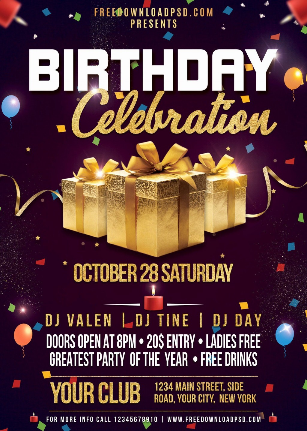 000 Frightening Birthday Flyer Template Psd Free Download Photo Large