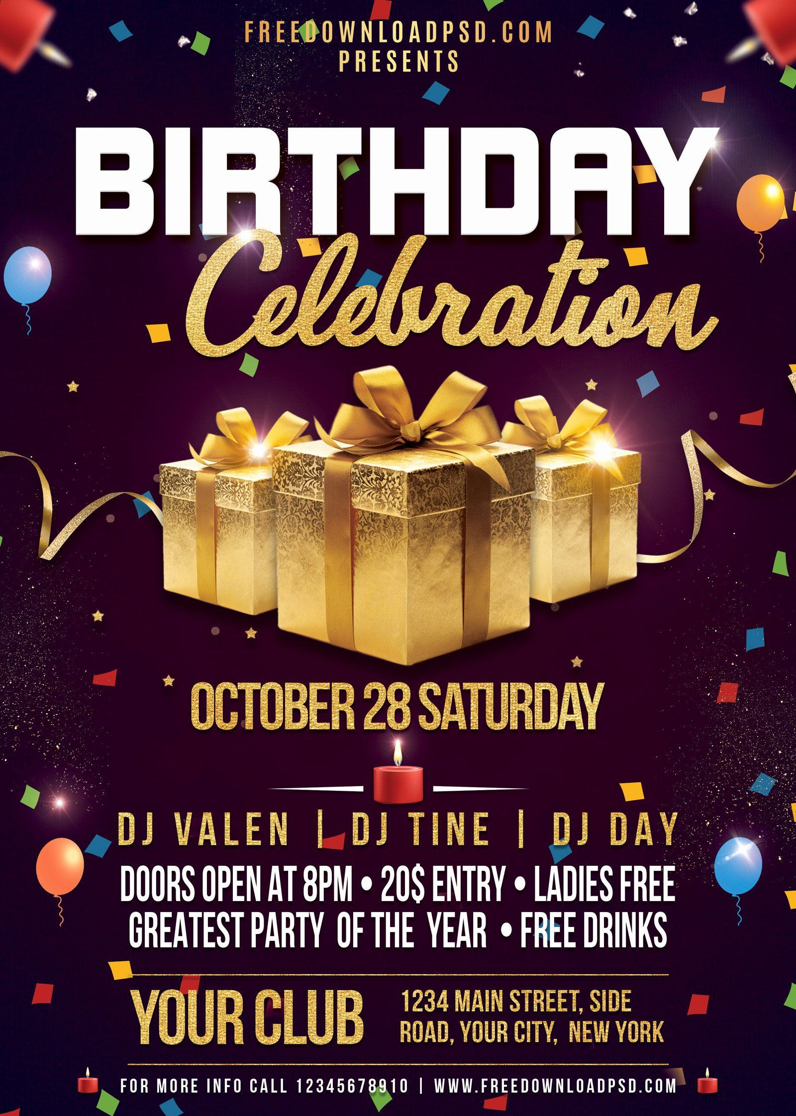 000 Frightening Birthday Flyer Template Psd Free Download Photo Full