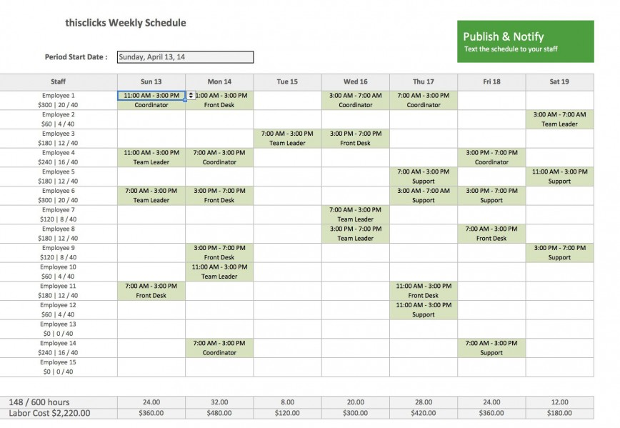 Employee Schedule Template Free Addictionary