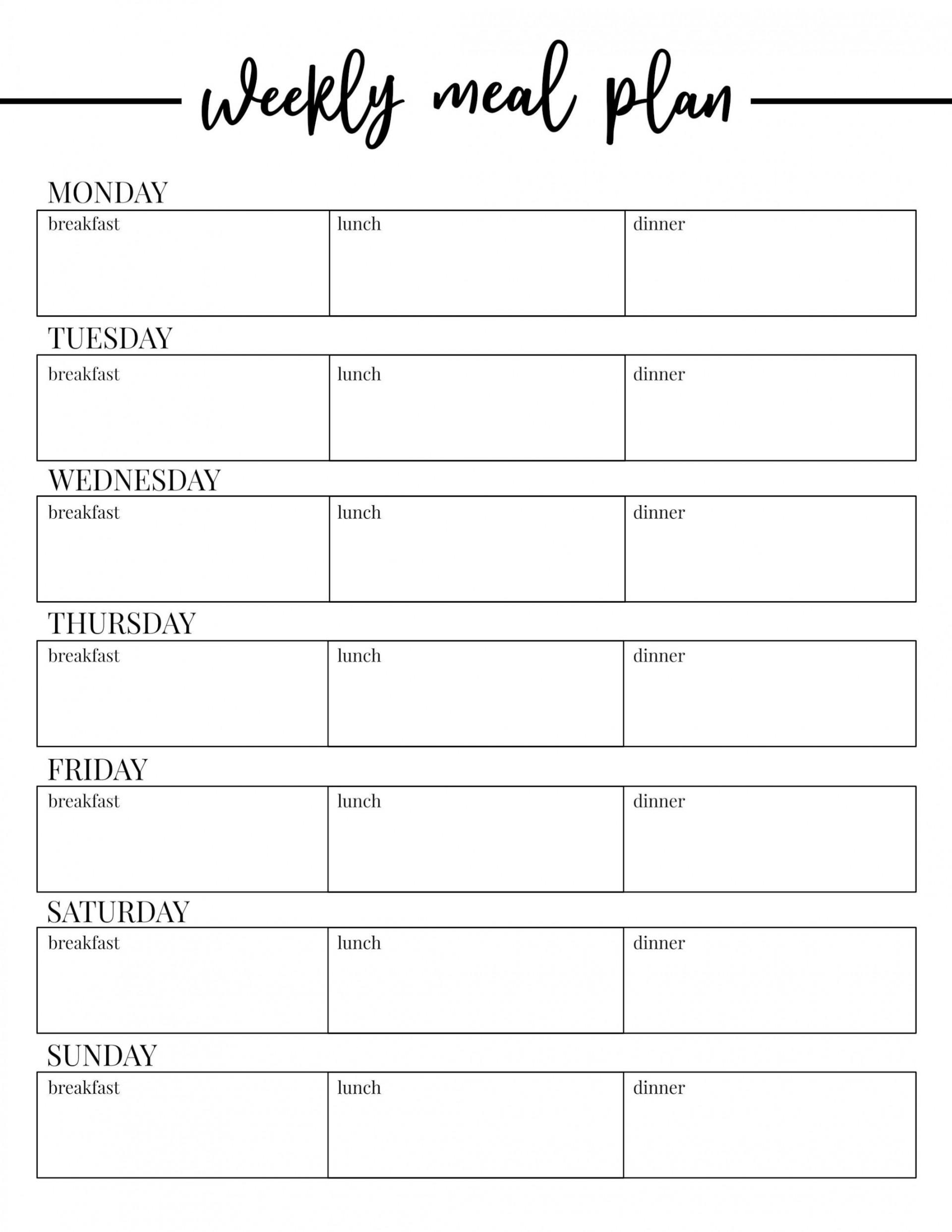 000 Frightening Free Printable Weekly Meal Plan Template Design  Planning Worksheet1920