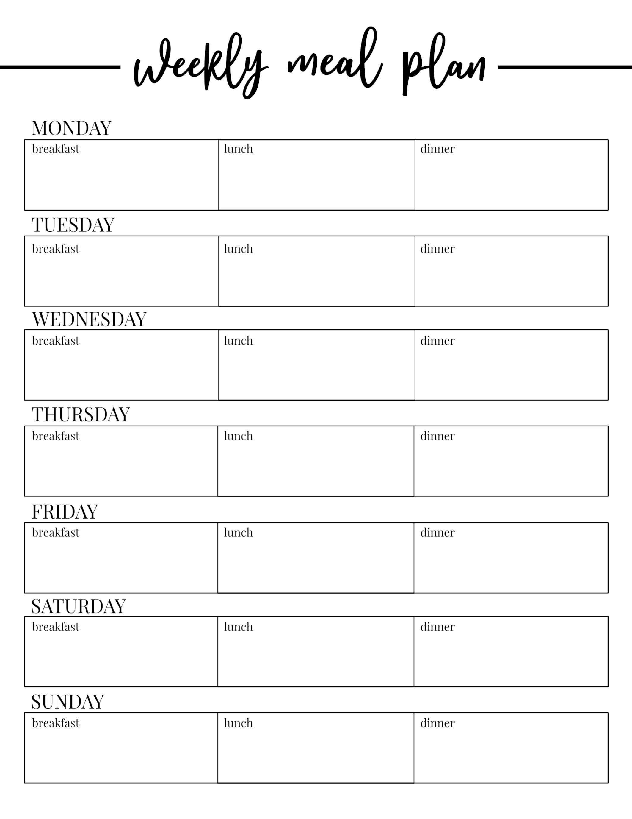 000 Frightening Free Printable Weekly Meal Plan Template Design  Planning WorksheetFull