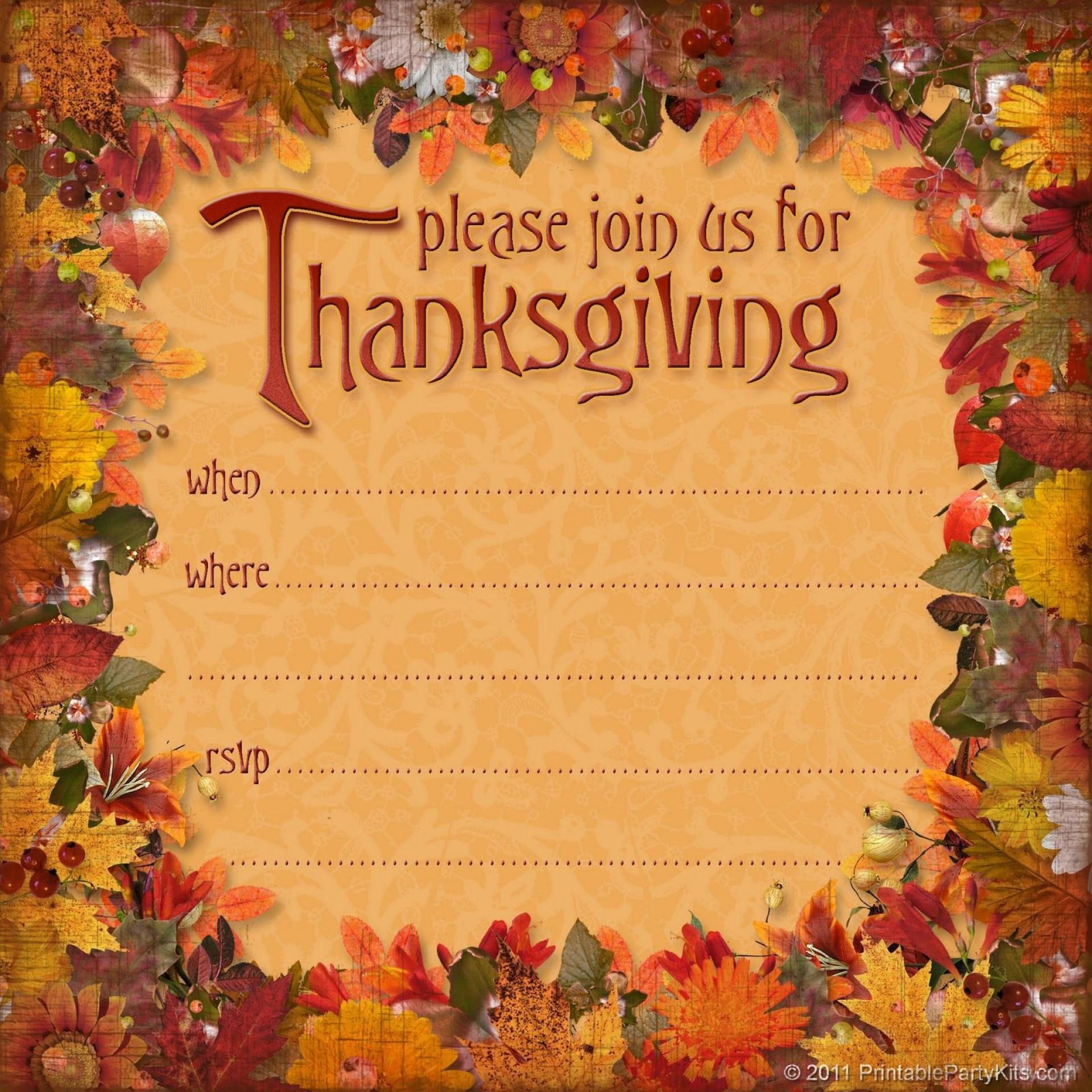 000 Frightening Free Thanksgiving Invitation Template Idea  Templates Printable Dinner Download Potluck1920