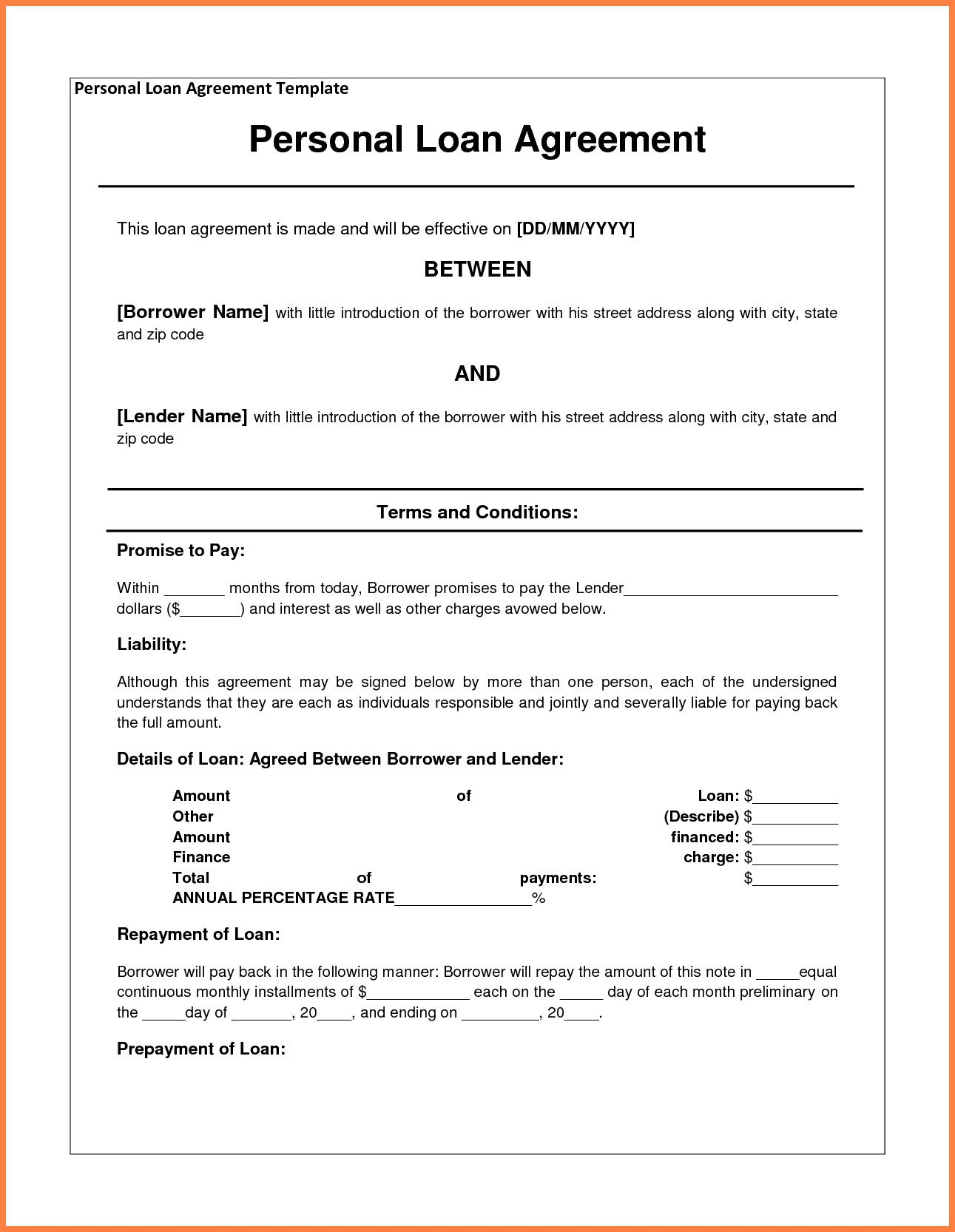 000 Frightening Personal Loan Agreement Template Idea  Contract Free Word Format South AfricaFull