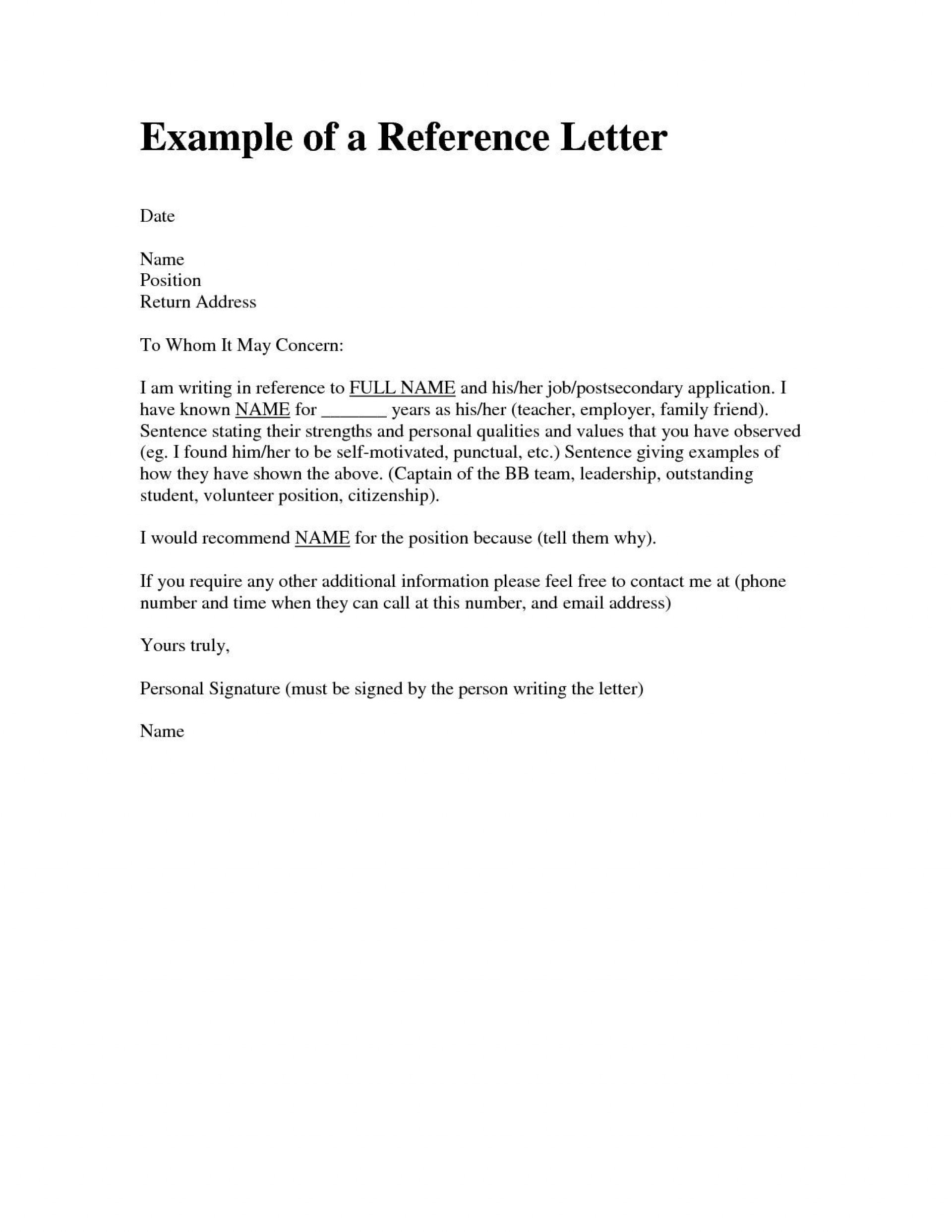 000 Frightening Personal Reference Letter Of Recommendation Template Highest Clarity  Sample Character1920